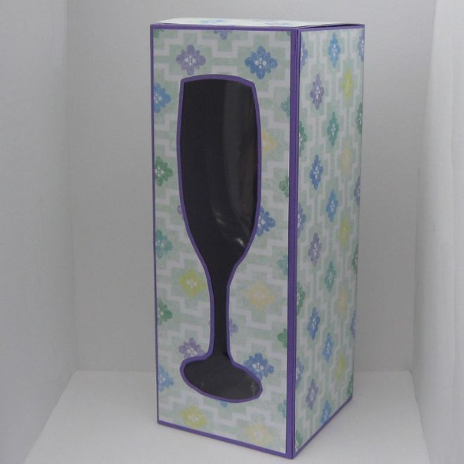 Champagne Glass Box Template 210mm Tall